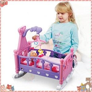 Dom zabaw dla dzieci symulacja Baby Shaker Doll zestawy zabawek kołysanie kołyska łóżeczko dziecięce zabawka dla dziewczynki z koc z poduszką Shaker zestawy