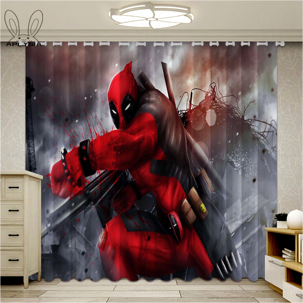 Fashion Deadpool Window Curtain Block Out Fabric Drapes Darkening Thermal Insulated Cartoon Kids Living Room Bedroom Curtains Aliexpress