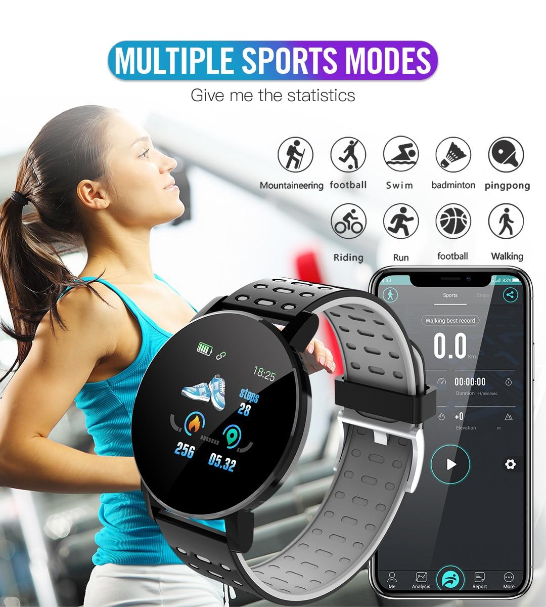2020 119 Plus Smart Watch Men Women Blood Pressure Waterproof Sport Round Smartwatch Smart Clock Fitness Tracker For Android IOS 5
