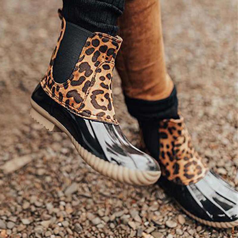 Nuovo Leopardo della caviglia stivali per le donne stivali scarpe donna inverno Stivaletti scarpe da donna caldo di inverno delle donne stivali Botas Mujer plus formato 43