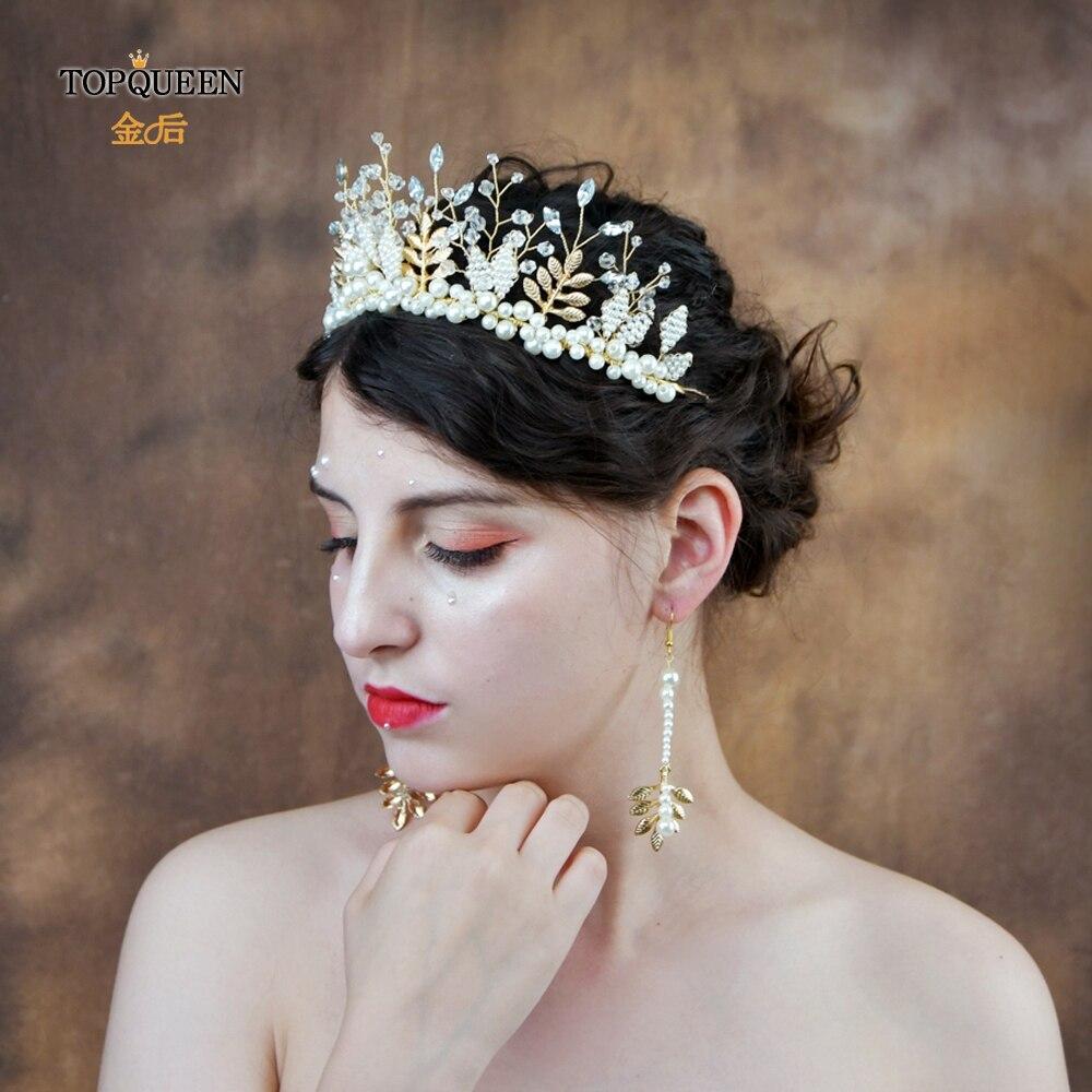 TOPQUEEN Wedding Hair Accessories Pearl Crystal Bridal Crown Alloy Leaves Hair Tiara Rhinestone Hair Jewelry For Wedding HP196