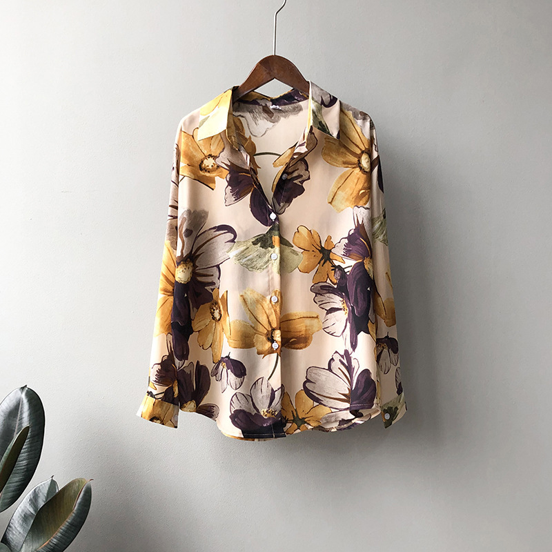 Print Chiffon Shirt Women 2020 Fashion Vintage Loose Long Sleeve Shirts Clothes Spring Flowers Tops Female Casual Blouse Shirt