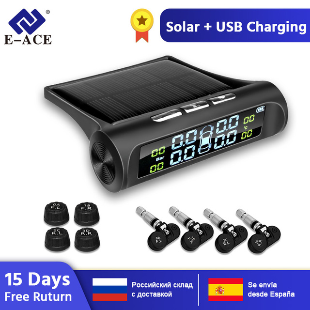 $ US $22.19 E-ACE Solar Power TPMS Car Tire Pressure Alarm Monitor System Auto Security Alarm Systems Tyre Pressure Temperature Warning
