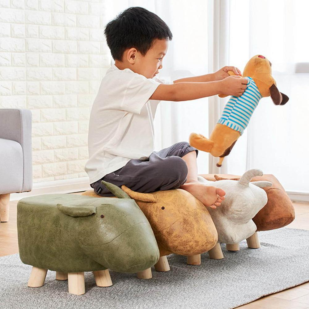 Animal Stool Sofa Stool Elephant/Puppy/Elk/Dinosaur/Bull Padded Seating Rest Chair Pouffe Bench