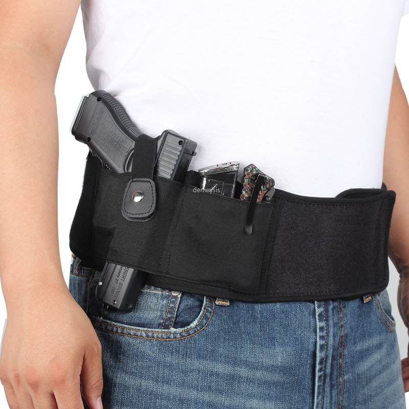S Tactical Elastic Concealed Carry Belly Band Waist Holster /& Mag Pouch NEW