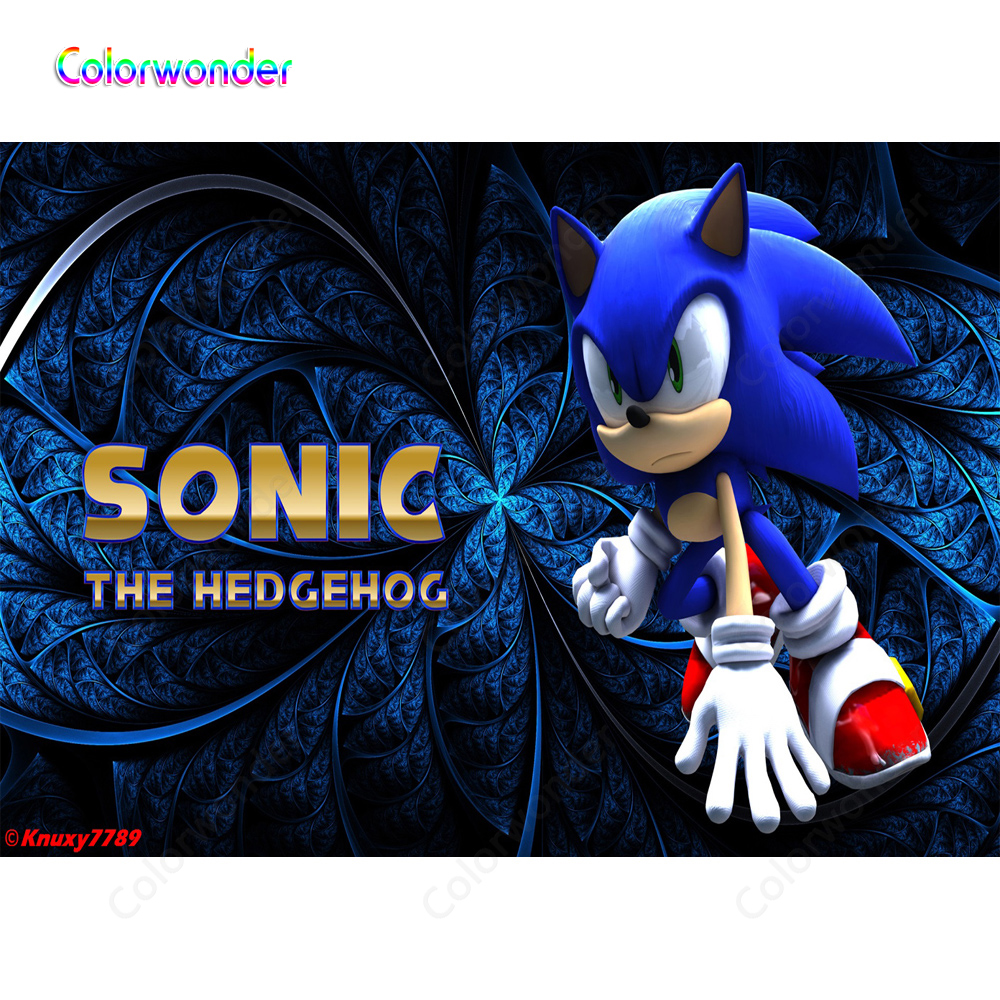 Cartoon World Photography The Hedgehog Sonic With Red Shoes Blue Iron Flower Backgrounds Kids Birthday Party Backdrops For Baby Background Aliexpress