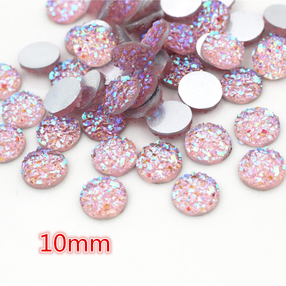 New Fashion 10mm 40pcs Pink AB Colors Natural Ore Style Flat Back Resin Cabochons For Bracelet Earrings Accessories-O2-06