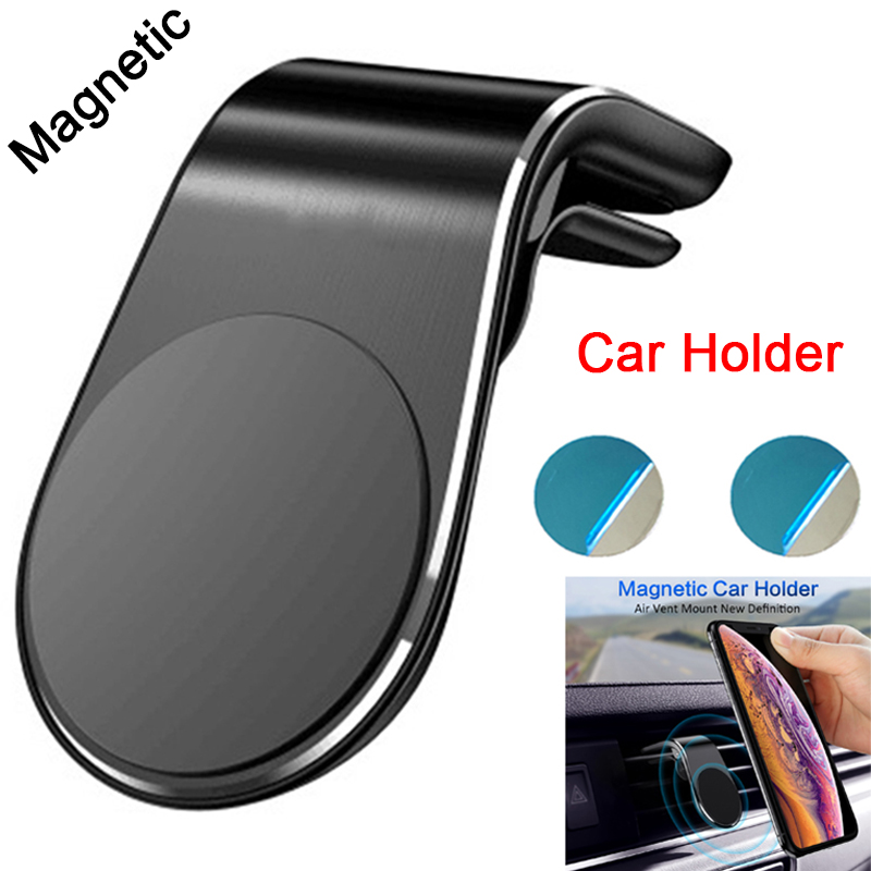 For IPhone 11 Xiaomi Huawei Samsung Gravity Car Phone Holder Metal Magnetic Dashboard Air Vent Grip Bracket Magnet Mobile Stand