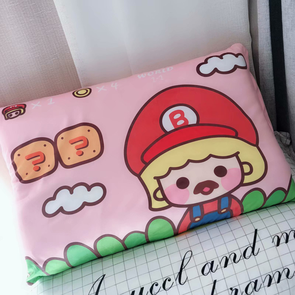 Candice Guo! Cute Plush Toy Lovely Pillowcase Mario Game Cartoon Style Soft Pillow Cover Girl Birthday Christmas Gift 1pc