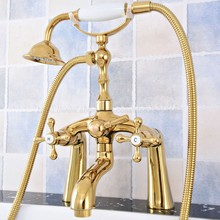 Luxury Gold Color Brass Deck Mounted Shower Bathroom Tub Faucet Dual Handles W/ Hand Shower Sprayer ztf778 chrome brass roman waterfall bathroom tub faucet w hand sprayer deck mounted sink faucet
