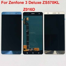 شاشة إل سي دي كاملة تعمل باللمس مع مستشعر محول رقمي ، ضمان 100% 5.7 بوصة, لهاتف Asus Zenfone 3 Deluxe ZS570KL Z016D ، مجموعة جديدة ذهبية