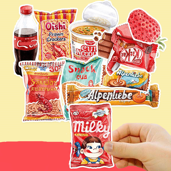 21PCS Childhood Food And Drink Stickers Crafts And Scrapbooking Stickers Kids Toys Book Decorative Sticker DIY Stationery