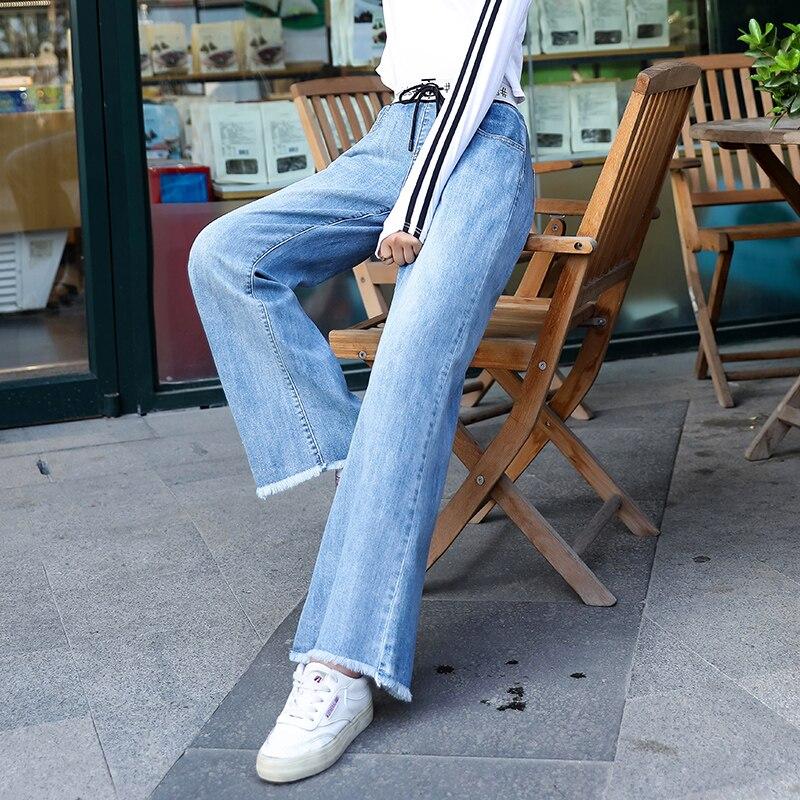 Zogaa mujer Jeans 2019 nuevo otoño cintura elástica pantalones de mezclilla de gran tamaño suelto mujer lavada Harem pantalones Darwstring Streetwear