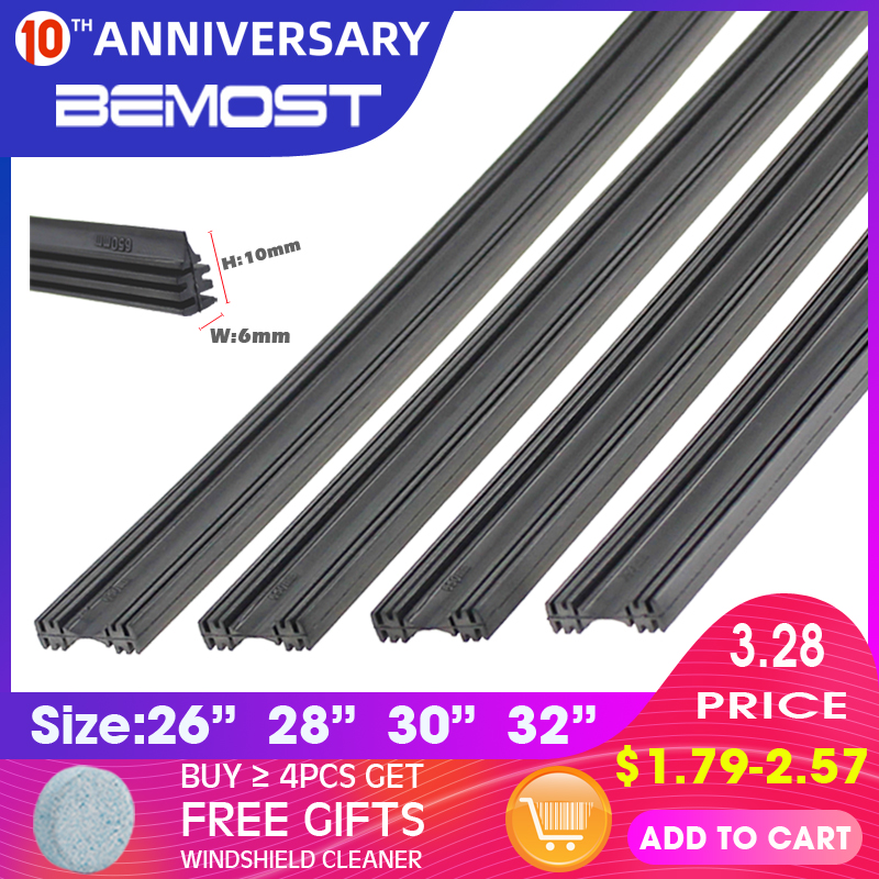 2 uds DIY Cut Car sin marco limpiaparabrisas tiras 6mm parabrisas Wipers recarga Natural Rubber strip 26