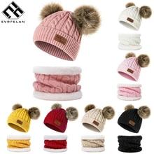 Evrfelan/Новинка, комплект из 2 предметов, зимняя шапка и шарф для мальчиков и девочек, вязанная хлопковая шапка и шарф, детские зимние аксессуары, подарочный набор для детей