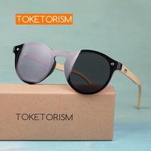 Toketorism hot new fashions mirror coating sunglass round frame bamboo sunglasses for men and women 913