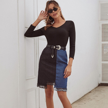 JYSS new arrival patchwork denim skirts for girl a line knee length blue black fashion skirt tassels skirt without belt 30099
