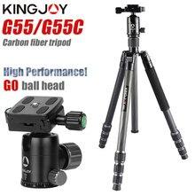 KINGJOY officiel G55 professionnel en Fiber de carbone Portable trépied Kit monopode support rotule pour voyage DSLR appareil photo photographique