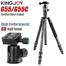 Kingjoy kit de tripé portátil g55, tripé profissional de fibra de carbono, suporte monopé, cabeça para viagens, dslr, câmera fotográfica