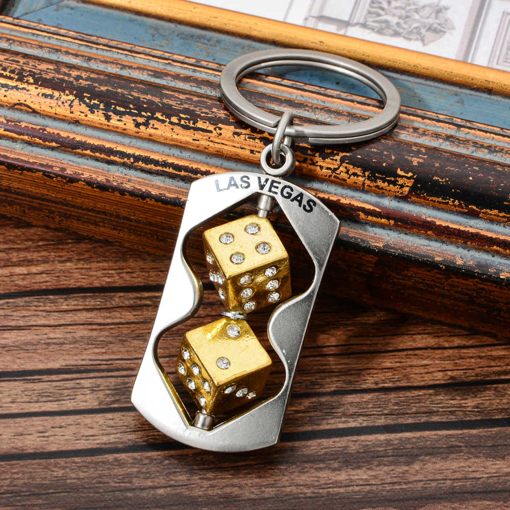 Vicney Mais Novo Na Moda Duas Cores de Las Vegas Dice Keychain Do Punk Saco Carro chaveiro de Prata Homens Jóias Presentes Portátil Keyfob chaveiros