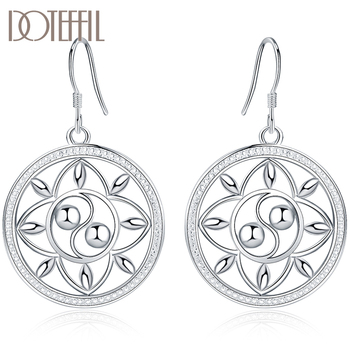 DOTEFFIL 925 Sterling Silver Circle Round Drop Earrings For Women Lady Fashion Wedding Engagement Party Jewelry 2019 fashion 925 sterling silver dangle earrings white zircon flower pearl drop earrings for girls women wedding party jewelry