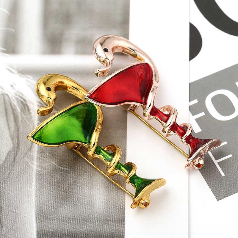 Милая Красная Зеленая краска винное стекло Змея Брошь сплав эмаль Женская Вечеринка нагрудная булавка Женская булавка для хиджаба Броши заколки для хиджаба ювелирные изделия