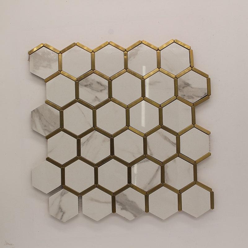 Naklejka ścienna ceramiczna i mentalna mozaika sześciokątne płytki ścienne o strukturze plastra miodu