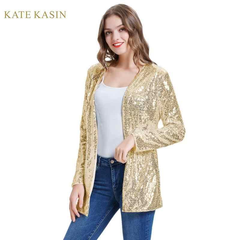 Kate Kasin femmes étincelle Sequin manteau veste superbe ouvert devant à manches longues cardigan d'extérieur mode paillettes Streetwear KC000075