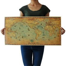 Wall-Poster World-Map Nautical Ocean-Sea Home-Decor Paper Retro Painting for Living-Room