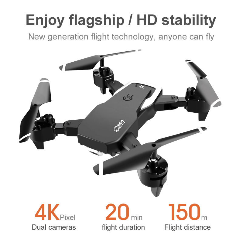 2020 S60 Drone 4k Wide Angle Camera WiFi fpv Dual Camera RC Quadcopter Height Keep pocket Drone Selfie Helicopter gift for kids