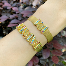 Fashion watch strap Letter DIY Bracelet For Men Women 26 English Rainbow Bangles AAA+ Grade CZ Crystal Birthday Gifts