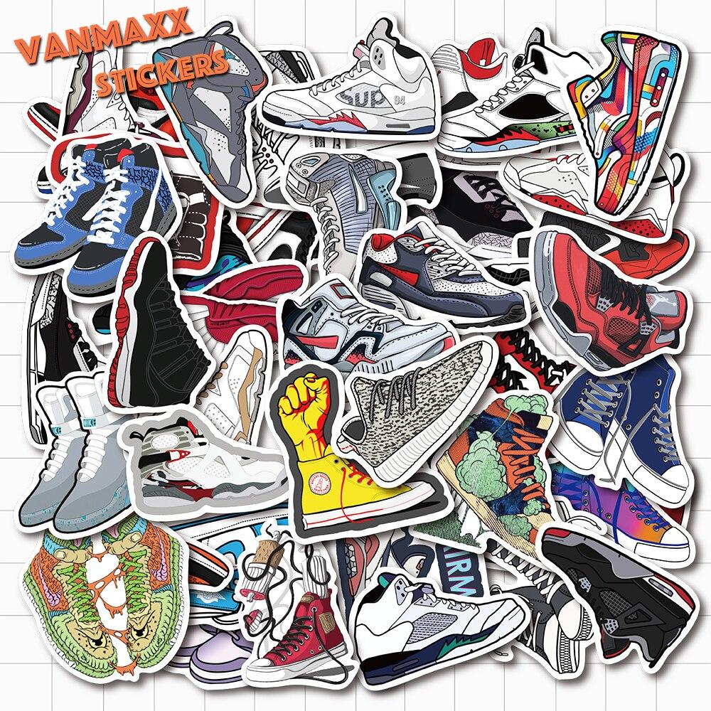 VANMAXX 50 PCS Famous Brand Classic Shoes Shape Die Cut Stickers Waterproof PVC Decal For Laptop Helmet Bicycle Phone Case