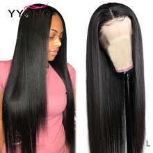 YYong 4x4 & 13x4 ישר תחרה מול שיער טבעי פאה מראש קטף עם תינוק שיער 32 אינץ ברזילאי רמי שיער טבעי תחרה סגירת פאה