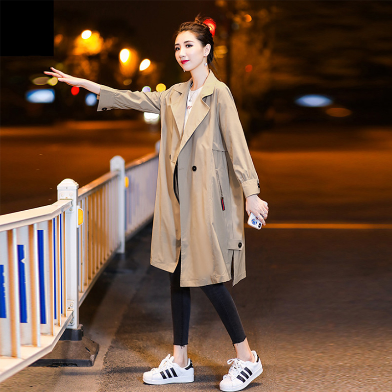 Liva girl Women Autumn Long Sleeve Double Breasted Long   Trench   Coat Female Pocket Straight Shirt Windbreake
