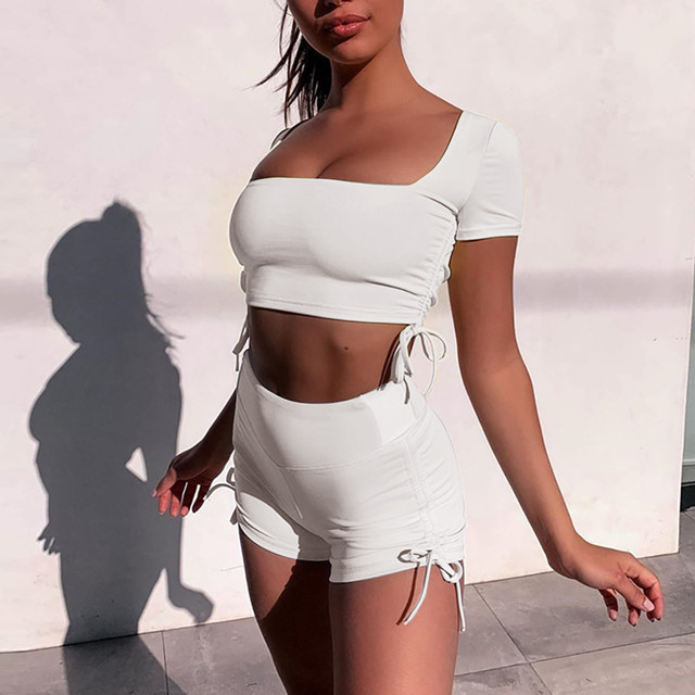 Fashion Womens Sexy Solid Vest Sports Fitness Set Elastic Tops+shorts 2 Piece Set Women Clothing Summer Tracksuit Sportwear #3 4