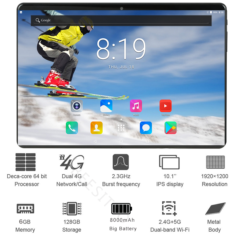 2.5D Glass 10 Inch Tablet Pc Deca Core 6GB RAM 128GB ROM 1920*1200 IPS Tablets Android 8.1 Dual Sim 4G Tablets 10 10.1