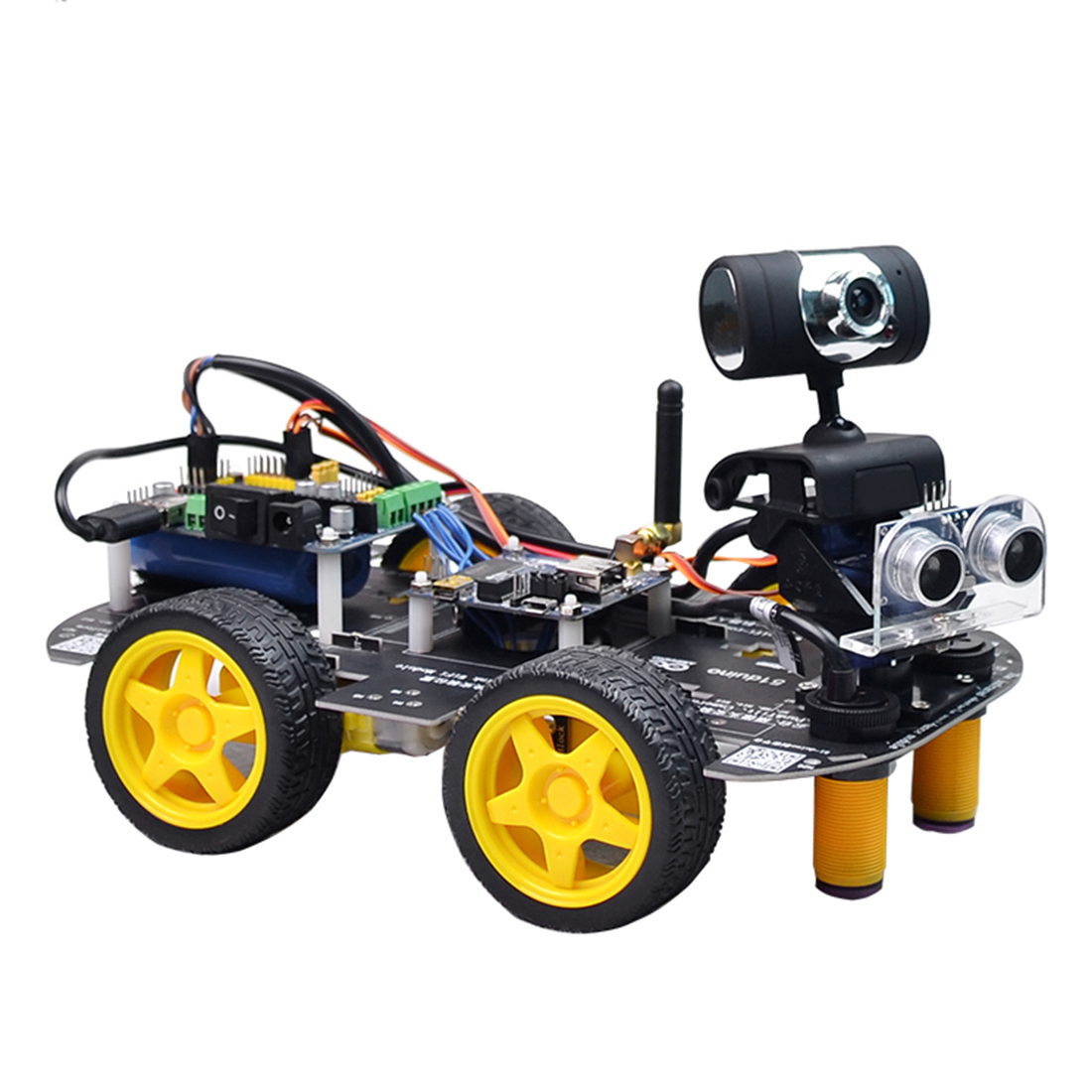 DIY Programmable Robot Wifi Steam Car With Graphic XR BLOCK Linux For Raspberry Pi 4(2G)(Line Patrol Obstacle Avoide Version)