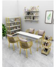 Marble single double European nail table nail manicure Taipei European style nail table and chair set gold wrought iron