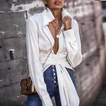 BOHO INSPIRED classic white shirt plunge V-neck pleated tie-front blouse women sexy summer beach top long sleeve boho blouse