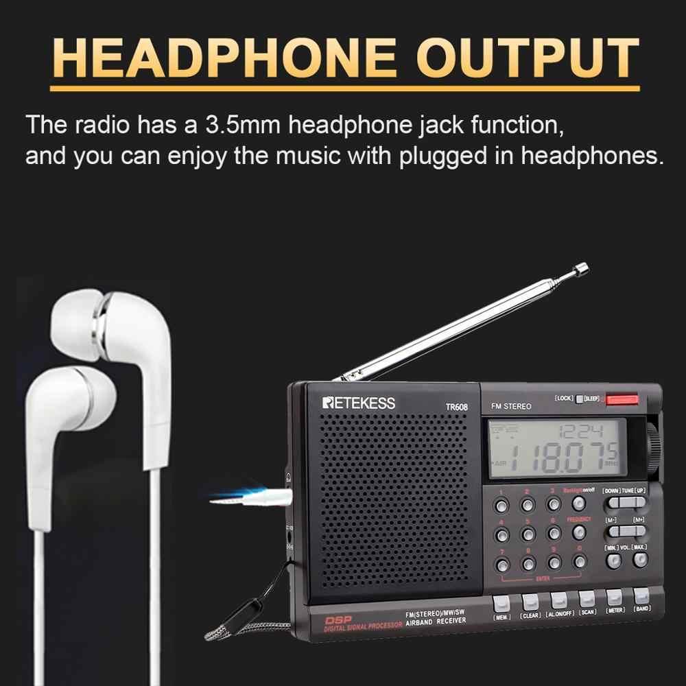 Retekess TR608 FM MW SW Radio Air Band Digitale Tragbare Reise Radio mit 24-Stunde Zeit Uhr Schlaf Timer