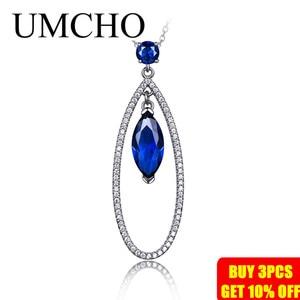 Image 2 - UMCHO Подвеска из настоящего серебра 925 пробы с голубым сапфиром, ожерелье с подвеской, ювелирные изделия для женщин с цепочкой, Новинка