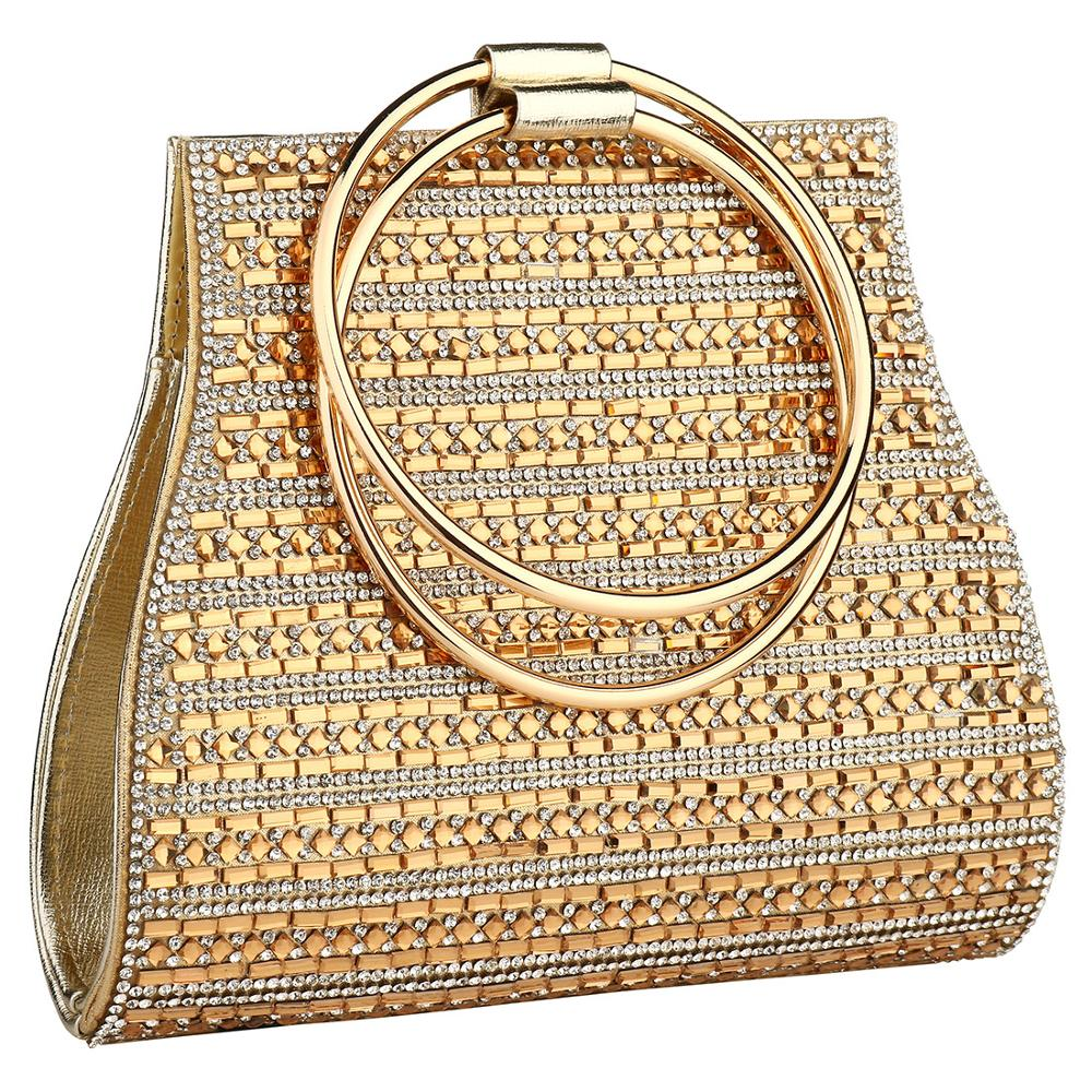 YYW Bags For Women 2019 European Fashion Round Handle Handbag Mini Evening Clutch Bag Gold Color Wedding Tote Handbags Clutches