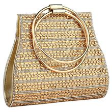 YYW Bags For Women 2019 European Fashion Round Handle Handbag Mini Evening Clutch Bag Gold Color Wedding Tote Handbags Clutches