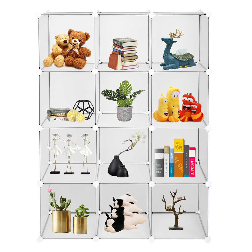 Cube Storage 12-Cube Book Shelf Storage Shelves Closet Organizer Shelf Cubes Organizer Bookcase Home Storage Supplies