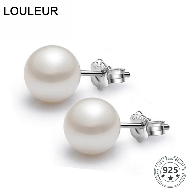 LouLeur 6-8mm 100% Genuine Freshwater White Pink Pearl 925 Silver Stud Earrings Fashion Jewelry For Women Wholesale Earrings