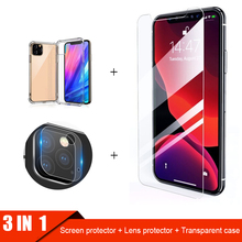 3 in 1/set For iphone 11 pro max X XS XR 7 8 6 6S plus Screen Protector + transparent case silicone Camera Lens glass film