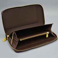 Wholesale classic standard wallet fashion leather long purse moneybag zipper pouch coin pocket date code note compartment clutch
