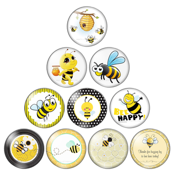 Cute Bee Be Happy Pattern Round photo glass cabochon demo flat back Making findings 10mm/12mm/18mm/20mm/25mm/30mm - discount item  10% OFF Jewelry Making