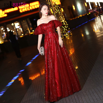 Elegant Burgundy Evening Dresses Long ES30038 Sequined Velour Off Shoulder Sparkle Evening Gowns Avond Jurk