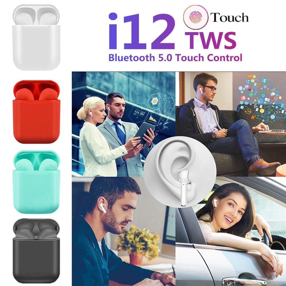 I12 Tws Matte Bluetooth Headset Wireless Earbuds Handsfree Business Headphones Sports Headphones Bluetooth Music Headphones Earb